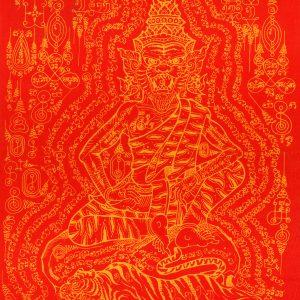 LP Kalong Tiger Face Lersi (Saming Prai) pha yant – love riches authority spirits